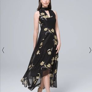 WHBM - Black Dress with Gold Flowers NWT